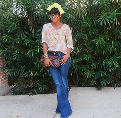 Tori Shalea' - Random Neon Bow Tie, Random Cropped Blouse, Random Berry Clutch, Random Vintage Gold Leaf Necklace, Gap 1969 Jeans - Brunch in 1969