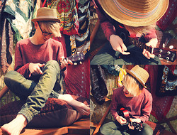 Ben Gibbs - H&M Trilby, Red Jumper, Topman Green Trousers - Dusty And You Are