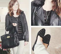 S L - Miss Selfridge Sheer Stripe Shirt, Mulberry Bayswater, Tiffany & Co. Key Necklace, Topshop Stud Slippers, Topshop Fur Collar Jacket - Birthdays + mulberry!
