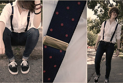 Lauren A (@LaurArmi) - Thrifted Polka Dot Suspenders, Gap White Dress Shirt, Levi's® Blue Skinnies, Vans Van's Classics - RATE MY SWAG. 1-10 (HATERS GONNA HATE)