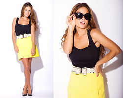 Chanyn Cheree - Zara Top, Zara Skirt, Omotesando Belt, Nicole Miller Pumps - Black & Yellow, Black & Yellow