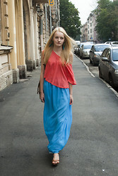 Margarita Vasilieva - Zara T Shirt, Made By My Myself And Mom Long Skirt, H&M Shoes, Global Accesoiries Backpack - Enjoying the last days of summer
