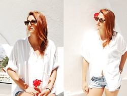 Anne G. - Thrift Store Shirt, Zara Shorts, Ray Ban Sunnies - With Eyes Shut It's You I'm Thinking Of