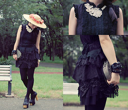 Shan Shan - Lace Dress, Tights, Shoes - Black lace