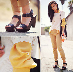 Jenny Ong - Le Mont St. Michel Knit Top, Forever 21 Sheer Yellow Blouse, Kasil 'Geek' Pants, Soda Faux Leather Strappy Sandals, Shangri La Gold Citrine Necklace - Lazy days