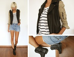 Sietske L - Romwe Jacket, H&M Striped Shirt, Levi's® Levis Shorts, Wanted Shoes Studded Boots - WRONG DIRECTION.