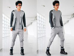 David Guison - Human Grayscale Cardigan, Bench Body Gray Shirt, Bench Gray Pants - Tone on Tone