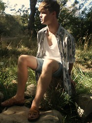 Jarod Wagner - Bdg V Neck Shirt, Thrifted Tribal Print Button Up, Levi's® Diy Jean Shorts, Thrifted Sandals - Somewhere Only We Know