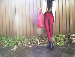 Valerie S - Mum's Maroon Shiny High Waisted Tights, Diy Leather Tote - Invalerie