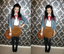 Sophie C - Vintage Shirt, Ark Skirt, Diy Bow Tie, Charity Shop Denim Jacket - Set Phasers to Stun