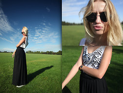 Abby OW - Topshop Black Maxi, Converse Vintage, Topshop My Fav Sunnies!, Casio - Blue Skies Green Grass