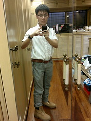 Aloy Chua - Button Down Shirt, Urban Stranger Reversible Belt, Forever 21 Jeans, Timberland Work Boots - Now the day is turning into night.