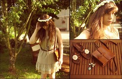 Clemence Sarily C. - Vintage Bag, Frontrowshop Cameo Necklace, Leather Shoes With Flowers, Handmade Flowers Crown - Summer Waltz