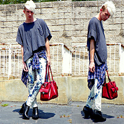 Dan Martuscello - Diy Grey Cropped Shirt, Second Hand Plaid Shirt, Thrifted Cherry Red Leather Bag, Acid Reign Wash Jeans - Dipped in Acid Grunge