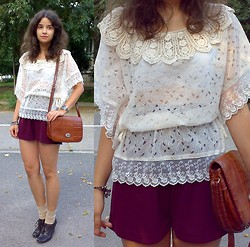 Oana S. - Crochet Collar Lace Blouse, Marc Chantal Thrifted/ Vintage Purse, Thrifted Shorts, Neutral Socks, Leather Wedge Odfords - ROMWE LACE BLOUSE
