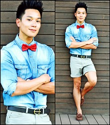 Kutik T - Wharton Paisley Bowtie, Zara Denim Shirt, Asos Anchor Belt, Topman Shorts, Sebago Tasseled Loafers - Anchor & Bowtie