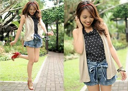 Marj Ramos - Singapore Studded Ring, Maldita Heart Printed Top, Denim Shorts With Ribbon, Giordano Vest, Michael Antonio Shoes, Girlshoppe Bangles, Red Slim Headband - Happy days are here again!