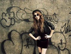 LEAH WHITE † - Charity Shop. Vintage Trilby, River Island Glasses, Leather Jacket, Velvet Dress - #2