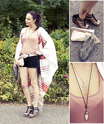 Meri R. - Thailand Fang Made From Shell, Egypt Ankh, H&M Bag, Thailand Wedges, H&M Cape, Forever 21 Fringe Shorts - Ankh.