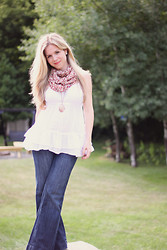 Kelly Hicks - Lillian's Scarf, Target White Flowy Tank, Forever 21 Wide Leg Jeans, Forever 21 Pendant Necklace - SUMMER SCARF