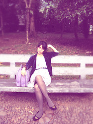 Sy. Muzdalifah - Vintage Velvet Blazer, Aceh Traditional Bag, Namoo Black Studed Flat Shoes - Waiting  is the boring thing