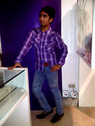 Carlosronn Toribio - U Plaid Shirt, Blue Harbour Vintage Leather Belt, Folded & Hung Skinny Stretch Jeans, Technomarine Cruise Star In Gold & Brown, Smd Brown Loafers - Purple story