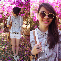 Ana Pádua - Zara Shirt, Forever 21 Sunglasses, Zara Shorts, Ring - Painting Flowers