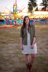 Kelly M. - Boy Scouts Of America Olive Green Button Down, Forever 21 Crochet Dress, Thrifted Boots - Evening at the fair