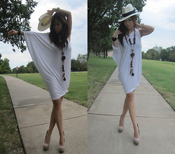 Cassandra Y. Liu - Sisley White Dress, Express White Hat, Steve Madden Nude Shoe - One Day