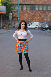 Mishka O. - Zara Skirt, Marc By Jacobs Necklace, Miu Flats, Stefanel T Shirt - He doesn't like this skirt