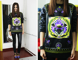 Cynthia Ding - Givenchy Sweater, Céline Leather Pants - Purple Iris in the night