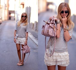 Chiara Ferragni - Miu Glitter Sunnies, Miu Bow Bag, Lanvin Sandals - Lace, stripes and bows