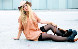 Amanda Brohman - Wera Bronzed Shirt, Jeffrey Campbell Shoes, H&M Thigh Highs, Monki Floppy Hat - Serena