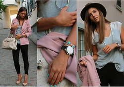 Jessica Mes - From A Boutique Ostrich Bag, Gap Grey Shirt, H&M Rosé Blazer - Mermaids' tears