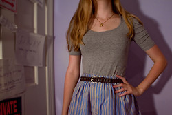 Beth Manet - Forever 21 Puff Top, Teapot And Spoon Charm Necklace, Little Boy Belt, Diy Shirt Skirt - Reminiscent of hey arnold