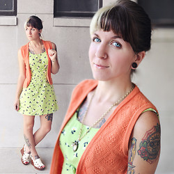Jessie Barber - Urban Outfitters Faux Antique Clock Necklace, Hand Made Orange Crochet Vest, For Sale In My Etsy Shop Lime Green Floral Dress, Thrift Store Vintage White Wooden Wedges - In The Limelight