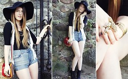 Magdalena W - H&M Vest, Diy Shorts, Primark Ring, Primark Rimg, House Bracelet, Th Maxx Hat, Internationale Top, Moow Shoes - Gals In Hats Do It Better