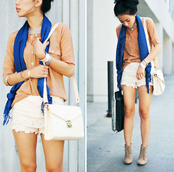 Jenny Ong - Le Mont St. Michel Silk Top, Romwe Leather Bag, Chic Wish Lace Shorts, Forever 21 Lace Up Booties, Style Rev Pashmina Scarf - Rusty nude