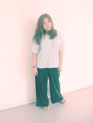 Priscilia Pinksuitdreamer - Mum's Own Knitted Top, Editor's Market Flare Pants, Wedge, Fossil Silver Watch - Memories of time past
