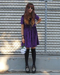 Larissa Blintz - Purple Crushed Velvet Dress, Vintage Jewelry, Ebay Socks, Online Leopard Creepers - Taste My Fucking Dream ✞