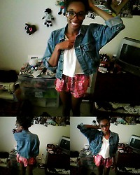 Synclaire , j - Levi's® Jean Jacket, Hanes Crop Top, Thrifted Tribal Shorts - Feel it rise up . . .