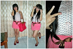 Fifi Yau - Mom's Diy Ribbon Top, Pink Skort, Longchamp Bag - Ribbon Everywhere