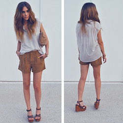 Rae Shoemaker - H&M Blouse, Forever 21 Suede Shorts, American Apparel Leather Bag, Jeffrey Campbell Wedges - When I look at your face in the night...