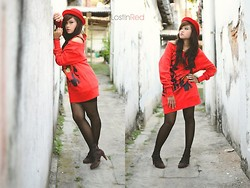 Monique Gracia - Happy Ending Store Big Red Sweater, From My Prince Bowler Hat, Trilateral Love, Bandung Stripes Heels - Lost In Red