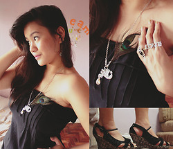 Cerisse Salvador - Hip Culture Black Romper, Peacock Feather Necklace, Love Rings, Black Wedge, Little Darlings Hawaii Seashell Earrings - 082611