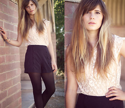 Jessica Leapman - H&M Lace Bouse, Sparkle + Fade High Waisted Buttoned Shorts - Summer Skin