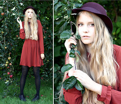 Denise - - Monki Hat, Monki Dress, From Lindex Tights, From Din Sko Shoes - Under The Apple Tree