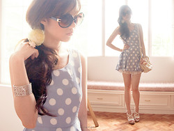 Valerie Chua - Forever 21 Rose Ring, Cmg White Strap Wedges, Charles & Keith White Leather Shoulderbag, Topshop Round Framed Sunglasses, Handmade Flower Hairpiece, Gift 60's Polka Dot Dress - The world is a circle that never begins