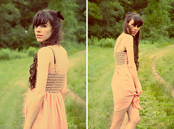 Kennedy Holmes - Vintage Black Velvet Hair Bow, American Apparel Pink Lace Dress, Vintage Black Slip - Being a girl