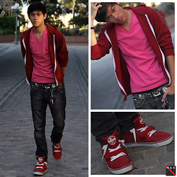 Max Wright - Tweak Footwear The Cannons, H&M Pink V Neck, American Apparel 'Cranberry' Hoodie, Pacsun Jeans (Drake's Skinniest), H&M Graphic Belt - Work around the shoes